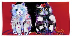 Baby Wu, Baby Moo, And Snowflake Dizzycats Beach Towel by DC Langer