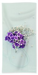 Baby's Breath And Violets Bouquet Beach Towel by Stephanie Frey