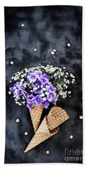 Baby's Breath And Violets Ice Cream Cones Beach Towel by Stephanie Frey