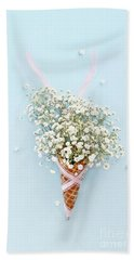 Baby's Breath Ice Cream Cone Beach Towel by Stephanie Frey