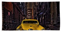 Back Alley Taxi Cab Beach Towel