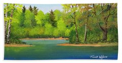 Beach Towel featuring the painting Back Country Pond by Frank Wilson