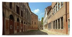 Beach Towel featuring the photograph Back Street In Venice by Anne Kotan