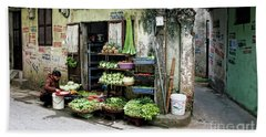 Back Street Veggies Store I Beach Sheet by Chuck Kuhn