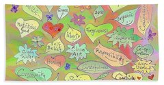Back To The Garden Leaves, Hearts, Flowers, With Words Beach Towel