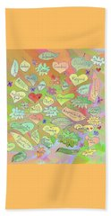 Back To The Garden Leaves, Hearts, Flowers, With Words Beach Sheet