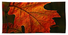 Backlit Leaf Beach Towel