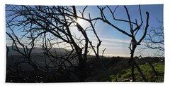 Beach Sheet featuring the photograph Backlit Trees Overlooking Hillside by Matt Harang