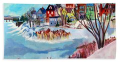 Backside Of Schenectady Stockade In February Beach Towel