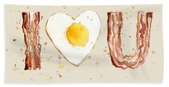 Bacon And Egg I Heart You Watercolor Beach Towel