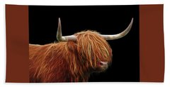 Bad Hair Day - Highland Cow - On Black Beach Towel