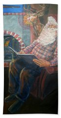 Beach Towel featuring the painting Bad Rudolph by Bryan Bustard