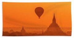 Bagan Pagodas And Hot Air Balloon Beach Sheet