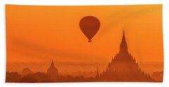 Bagan Pagodas And Hot Air Balloon Beach Sheet