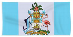 Beach Sheet featuring the drawing Bahamas Coat Of Arms by Movie Poster Prints