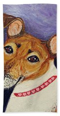 Beach Towel featuring the painting Bailey Terrier Mix by Ania M Milo