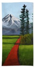Beach Towel featuring the painting Baker Meadow by Nancy Merkle