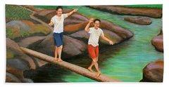Balancing Life Through A Straight And Narrow Path Beach Sheet