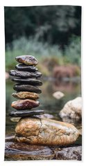 Balancing Zen Stones In Countryside River I Beach Sheet by Marco Oliveira