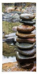 Balancing Zen Stones In Countryside River Vii Beach Sheet