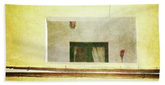 Beach Towel featuring the photograph Balcony With Parrot by Anne Kotan