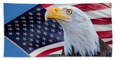 Bald Eagle And American Flag Beach Sheet