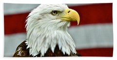 Bald Eagle And Old Glory Beach Towel