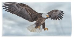 Bald Eagle Blue Sky Beach Sheet by CR Courson