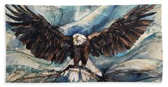 Beach Towel featuring the painting Bald Eagle by Christy Freeman