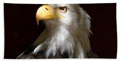 Beach Towel featuring the photograph Bald Eagle Closeup Portrait by Sue Harper