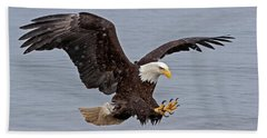 Bald Eagle Diving For Fish In Falling Snow Beach Towel