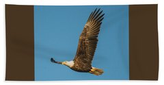 Bald Eagle Fly-by Beach Sheet by Jeff at JSJ Photography