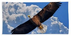 Bald Eagle In Flight Calling Out Beach Towel by Justin Kelefas