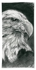 Beach Towel featuring the drawing Bald Eagle Intensity by MM Anderson