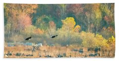Bald Eagle Pair With Fish And Foliage Beach Sheet by Jeff at JSJ Photography
