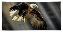 Bald Eagle Prepares To Dive Beach Sheet