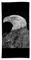 Bald Eagle Scratchboard Beach Towel by Shevin Childers