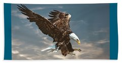 Bald Eagle Swooping Beach Sheet by Brian Tarr