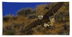 Beach Sheet featuring the photograph Bald Eagle Wing Spread-signed by J L Woody Wooden