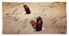 Bald Eagles And Seagulls Beach Towel