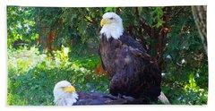 Bald Eagles Beach Sheet by Michael Rucker