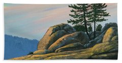 Beach Sheet featuring the painting Bald Rock At Sunset by Frank Wilson