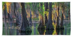 Baldcypress Trees, Louisiana Beach Towel
