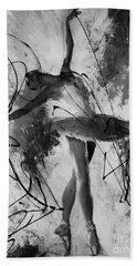 Ballerina Dance Black And White  Beach Towel by Gull G
