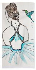 Ballerina  Hummingbird Love Beach Towel