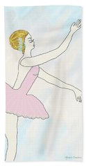 Beach Towel featuring the drawing Ballerina In Pink by Rosalie Scanlon