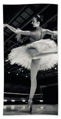 Beach Sheet featuring the photograph Ballerina In The White Tutu by Dimitar Hristov