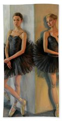 Ballerinas In Black Tutu Beach Towel