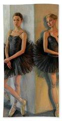 Ballerinas In Black Tutu Beach Towel