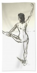 Ballet Dancer With Left Leg On Bar Beach Towel